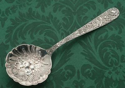 Repousse Large Berry Spoon with Berries Sterling Silver by S.Kirk & Son