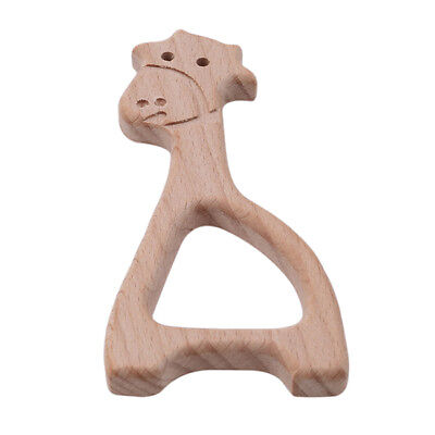 Baby Wooden Teether Rings Infant Teether Animals Teething Toys 6A
