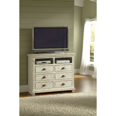 Willow Distressed White Solid Pine Media Chest