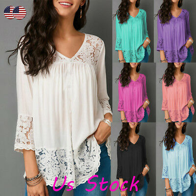Womens Lace V Neck 3/4 Sleeve Tops Baggy T Shirt Casual Loose Tops Blouse Shirts