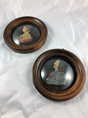 "Two 19th Century Antique Wax Portraits ""Lady Beauchamp"" and ""King Charles I"""