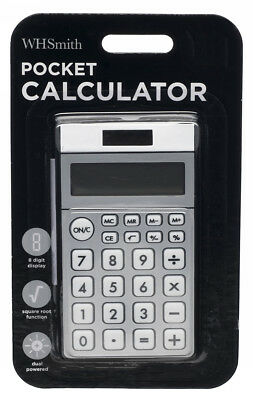 WHSmith Silver Pocket Calculator In Dual Powered Source With 8 Digit Display