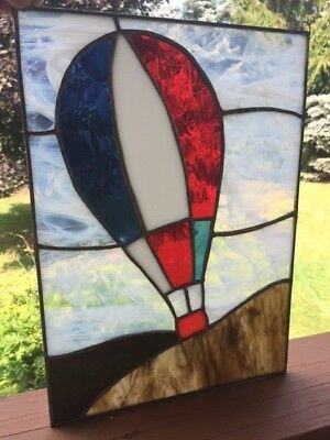 Red White & Blue   HOT AIR BALLOON   STAINED GLASS PANEL