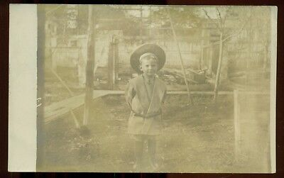 """1905 Little Boy in """"Buster Brown """" Suit Real Photo Postcard"""