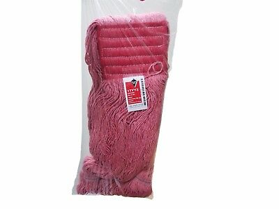 Lot of 3 Red Antimicrobial Large Wet Mop Head - Looped End - 5 Inch Band