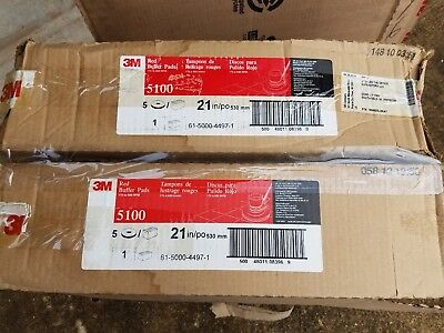 """3M Red Buffer Pad 5100 21"""" Case Of 5 X2"""