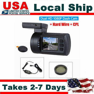 HD 1080P Dual Lens Vehicle Camera Recorder Car DVR Dash Cam GPS+Hard Wire+CPL