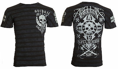 ARCHAIC by AFFLICTION Men T-Shirt MOON COMA Skull BLACK Motorcycle Biker $40