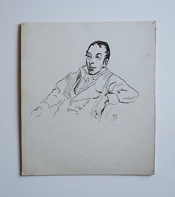 Unique, Original Pen & Ink Drawing By Artist Harry Furniss: Monk Lewis: Gothic