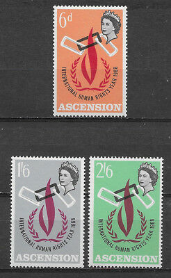 Ascension , 1968, Elizabeth Ii , Human Rights Year , Set Of 3 , Perf , Mnh