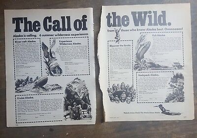 1974 print ad-The Call of the Wild-Alaska Airlines-Cruise-Raft-Fish-Arctic-More