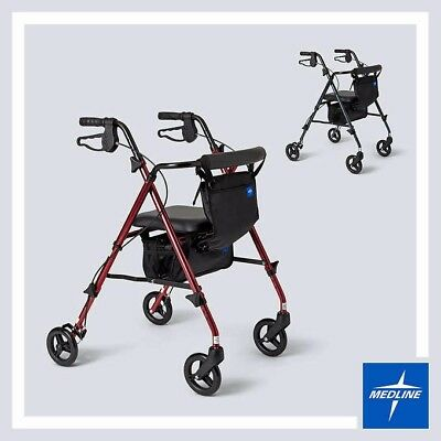NEW--UltraLight Freedom Rolling Walker by Medline with Cane RED