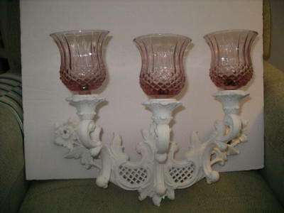 Lovely Up-Cycled Vintage Dart 3-Arm Wall Sconce W/Pink Diamond Glass Votives!