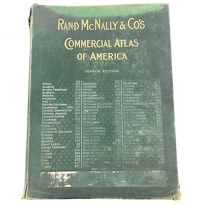 Rare 1911 Census Edition Large Rand McNally Commercial Atlas Of America w/ Maps