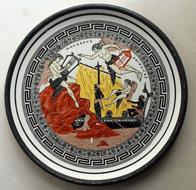 """Vintage Hand Painted Greek Dish Plate Figures 8""""  S & S Pottery"""