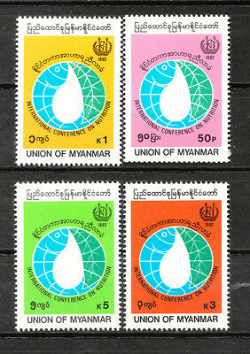 Burma Stamp. 1992. Sc#311-314. Mnh. International Conference On Nutrition, Rome