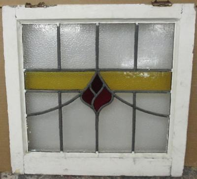 "OLD ENGLISH LEADED STAINED GLASS WINDOW Abstract Floral Band Design 20.5"" x 20"""