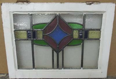 "OLD ENGLISH LEADED STAINED GLASS WINDOW Stunning Colorful Band Design 22"" x 16"""