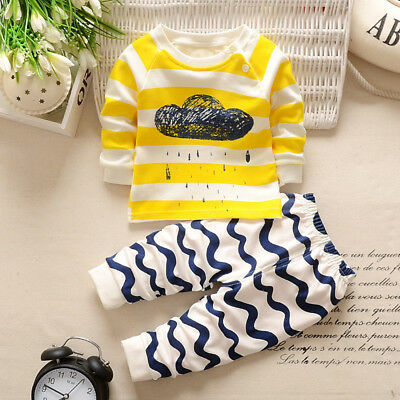 2pcs Toddler Kids Baby Boys Girls T-shirt Tops+Pants Trousers Outfit Clothes Set