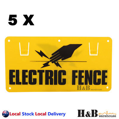 5X Electric Fence Caution Warning Sign Hook Tie To Wire Mesh Rope
