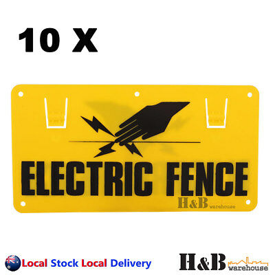 10X Electric Fence Caution Warning Sign Hook Tie To Wire Mesh Rope