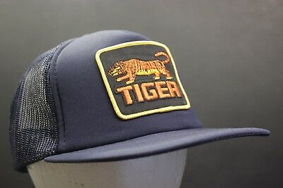 Vintage Tiger Trucker Hat Baseball Cap Patch Mesh Snapback Hipster Retro Blue