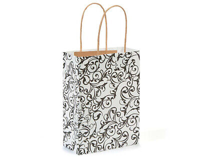 12 Medium Black & White Kraft Bags for Gifts or Crafts - 230mm Tall