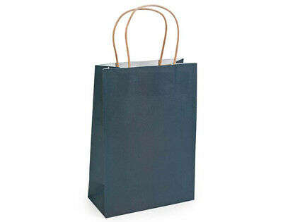 12 Medium Navy Blue Kraft Bags for Gifts or Crafts - 230mm Tall