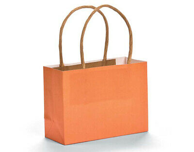 12 Small Orange Kraft Bags for Gifts or Crafts - 115mm Tall