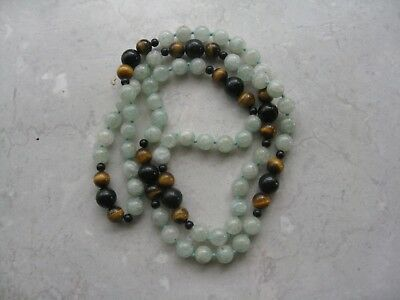 Vintage Green Jade & Tiger Eye Bead Knotted Long Necklace Beautiful 30""