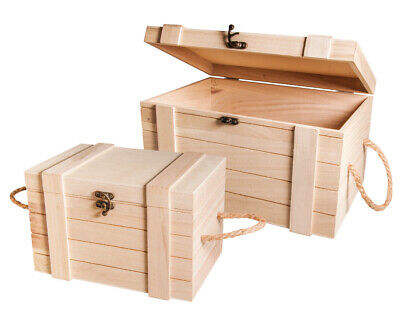 2 Premium Wooden Storage Chests with Metal Clasps & Rope Handles