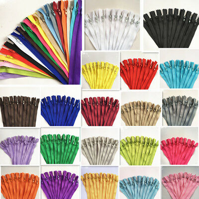 6-10Inch (15-25cm)Nylon Coil Zippers Bulk for Sewing Crafts 50-100pcs (20 Color)