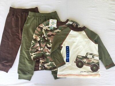 NEW Little Me Toddler Boys Size 3T Daycare Sets 4-PC Outfit Pants Shirts Camo