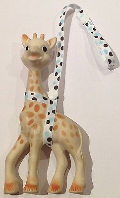 Toy Saver Strap/sitter for Sophie the giraffe & toys*thin* Brown/Blue/White Dots