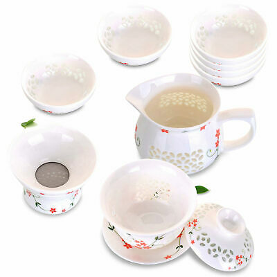 9in1 Porcelain Gongfu Tea Set - 140ml Gaiwan Cup + Pitcher + Filter +6 Cup - Red