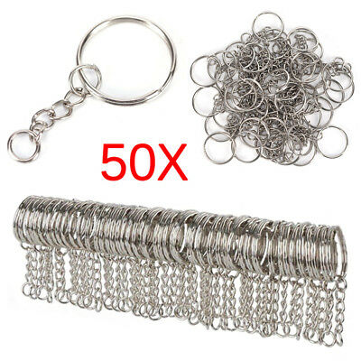 50PCS 25mm Polished Silver Keyring Keychain Split Ring Short Chain Key Rings NEW