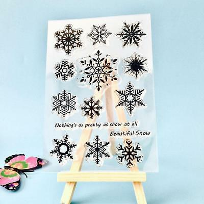 Snowflake Transparent Silicone Clear Rubber Stamp Cling Diary Cards Scrapbooking