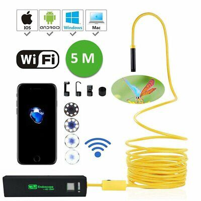 5M 8LED WiFi Endoscope Borescope Inspection IP68 Snake Camera For iPhone Android