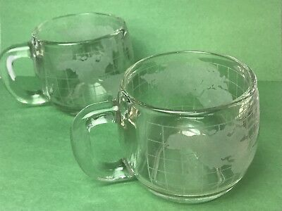 Vintage Nestle Nescafe Etched Frosted World Globe Glass Mug Cup Lot Of 2 1970s