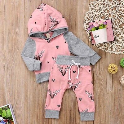 AU Seller Newborn Baby Boys Girls Deer Hooded Tops Pants 2pcs Outfit Set Clothes