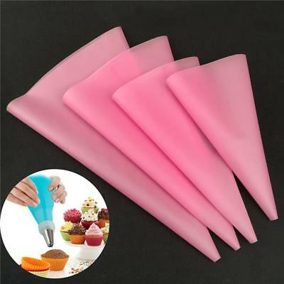 4pcs Silicone Reusable Icing Piping Cream Pastry Bag Cake Decorating Tools DIY