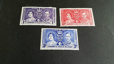 Gilbert & Ellice Islands 1937 Sg 40-42 Coronation Mh