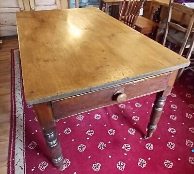 Antique Victorian pine SCRUB TOP TABLE with drawer 134 x 84 Seats 4 - 6 kitchen