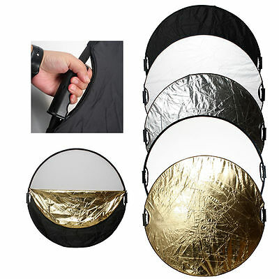 Photography 43''/110cm 5IN1 Collapsible Round Light Reflector Photo Disc Handle
