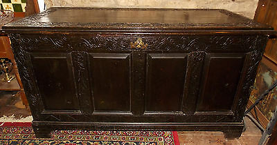 Antique oak COFFER blanket box mule chest carved oakleaves black painted large