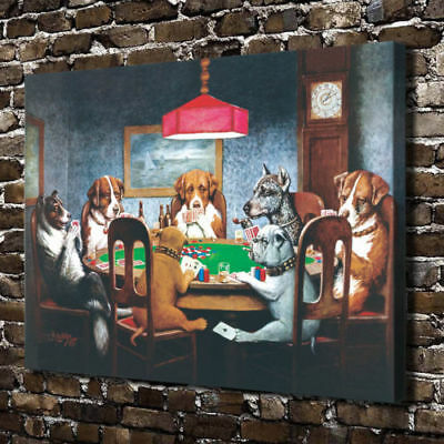 HD Print Dogs Playing Poker Home Wall decor painting on Canvas 12x16 Inch