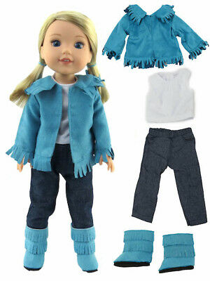"Teal Fringe Western Outfit Fits 14.5""  Wellie Wisher American Girl Clothes"