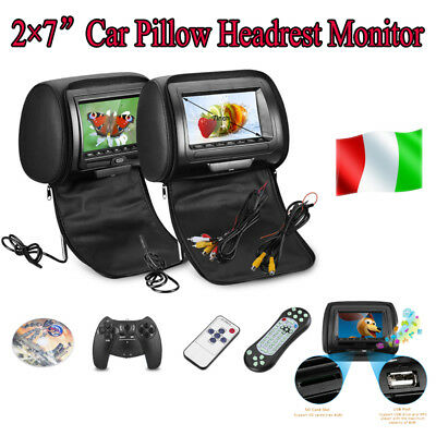 "2X 7"" TFT LCD Headrest DVD/USB/SD DVD Player Auto Cuscino Poggiatesta Monitor IT"