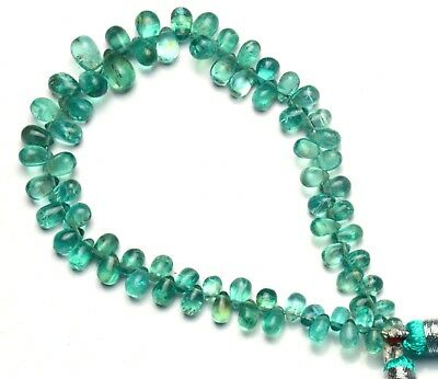 """Natural Gem Super Quality Green Apatite 6x4 to 9x6MM Teardrop Briolette Beads 8"""""""
