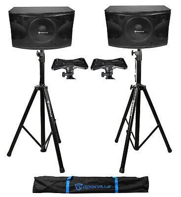 "Pair Rockville KPS12 12"" 3-Way 1600 Watt MDF Karaoke/Pro Speakers+Tripod Stands"